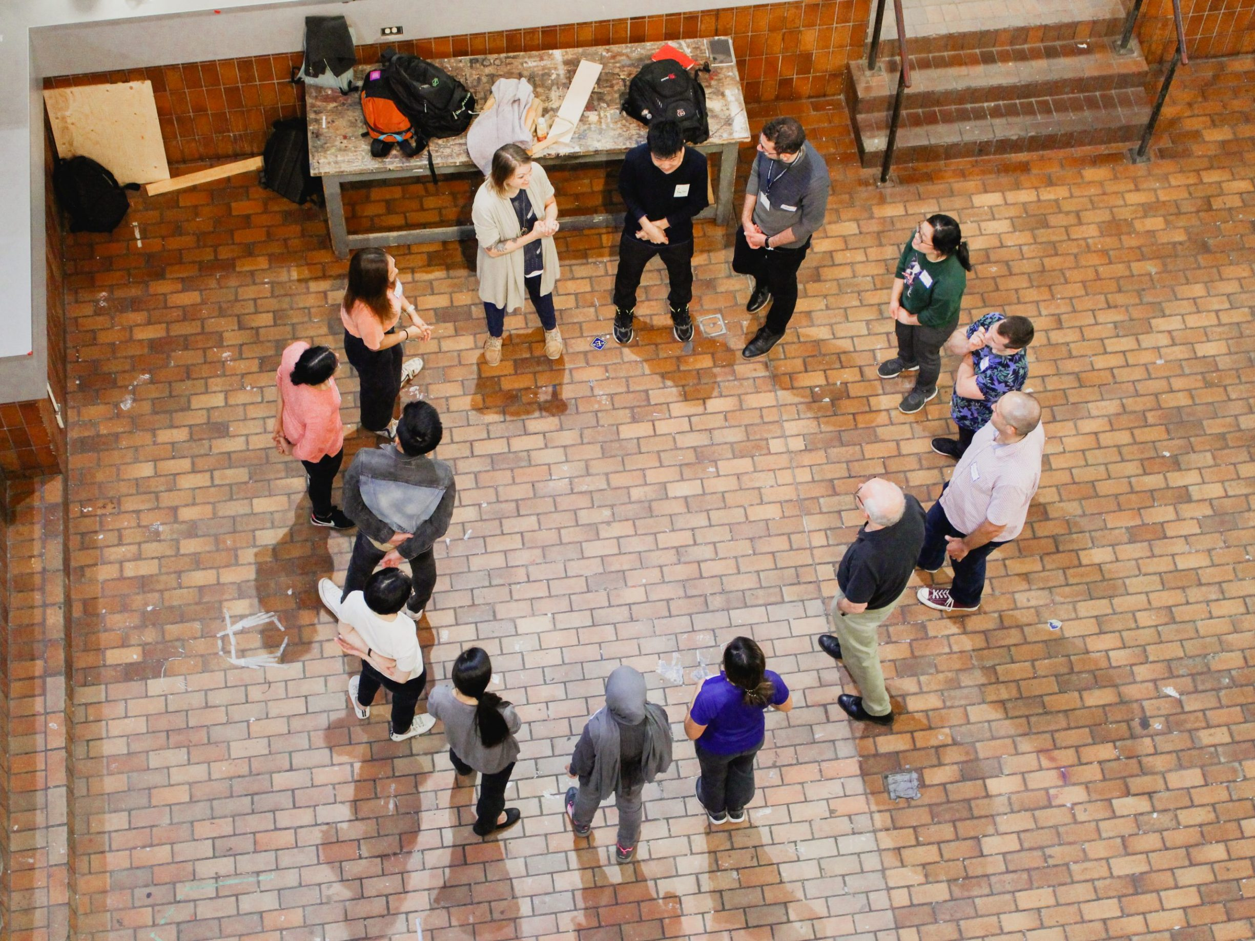 seen from above, students gather in circle